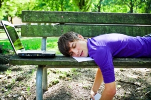 man sleeping on park bench with laptop