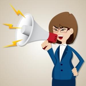 cartoon woman with megaphone