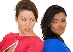 2 woman at odds